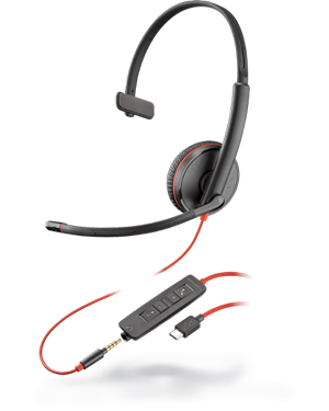 Plantronics Blackwire C3215 Monaural 3.5 mm/USB-C Headset