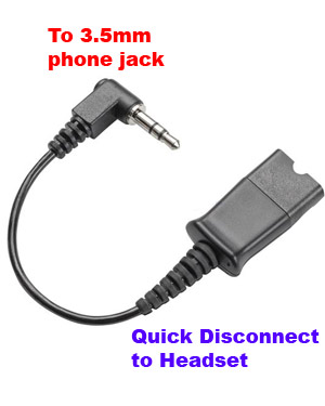 Plantronics Cable Adapter Converter QD to 3.5mm Phone Jack (40845-01)